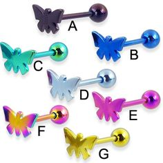 Titanium anodized butterfly tongue ring, 14 ga.  #tonguering #piercing #bodypiercings #bodyjewelry #butterfly ♥ $8.99 via OnlinePiercingShop.com