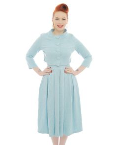 'Marianne' Light Blue Swing Dress and Jacket Twin Set - Bridesmaid Dresses - Wedding Shop - Dresses