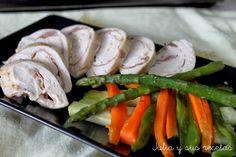 Pechugas de pollo rellenas al papillotte. Julia y sus recetas Sushi, Ethnic Recipes, Food, Safe Room, Cooking Recipes, Dishes, Beverage, Food Food, Eten