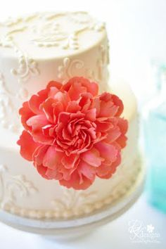 coral flower cake