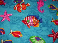 Tropical fish fabric that also has some sea horses by AQuiltingV Horse Star, Quilting Fabric, Tropical Fish, Jellyfish, Starfish, Birthday Ideas, Backgrounds, Horses, Sea