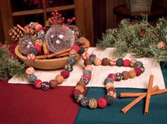 Rag Ball Garland-rag ball garland country home decor country colonial primitive Christmas tree decorations