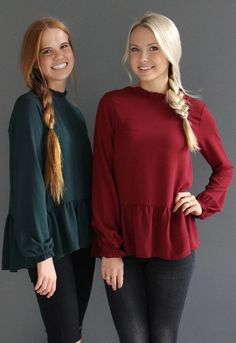 Olivia Peplum Longsleeve top - Burgundy or Hunter Green