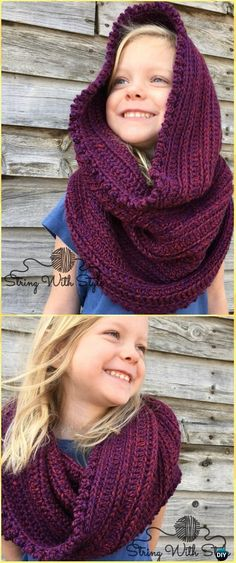 Free Crochet Hooded Cowl Patterns For Girls,Sleigh Ride Hooded Infinity Scarf-Here is a list of great 1 replacement for both two scarf and hat is a crochet hooded cowl pattern. Crochet hooded scarf is a big trend these days. Crochet Infinity Scarf Free Pattern, Crochet Hooded Cowl, Hooded Scarf Pattern, Crochet Baby Poncho, Crochet Beanie Hat, Crochet Scarves, Hand Crochet, Free Crochet, Crochet Hats