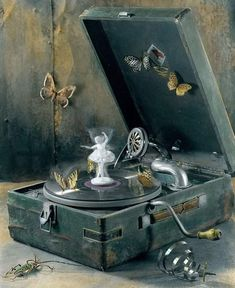 Music box vintage record player Ideas for 2019 Antique Music Box, Vintage Music Boxes, Bric À Brac, Phonograph, Butterfly Chair, Butterfly Music, Record Player, Trinket Boxes, Snow Globes