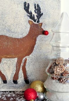 DIY stenciled and painted Rudolph the Reindeer Christmas canvas art - Jennifer Rizzo holiday stencils by Royal Design Studio - styled by Craft-o-Maniac