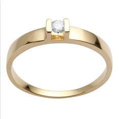 Anel Ouro Amarelo Solitário com Diamante 14 Pontos Gold. Rosana Joias e  Relógios add4c44904