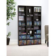 Media Storage Tower Big Rack Cabinet Adjustable Shelves Organizer CD DVD Games  #Oskar #Contemporary