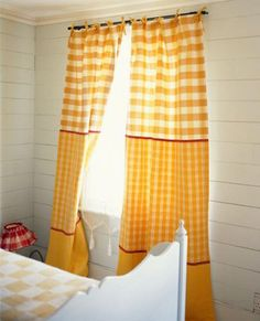 love the color blocked curtains Gingham Curtains, Country Curtains, Window Curtains, Check Curtains, Yellow Curtains, Kitchen Curtains, Yellow Cottage, Vichy, Window Coverings