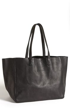 Baggu Leather Tote Black. Made in NYC. Made in the USA.