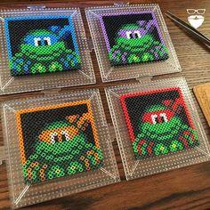TMNT coasters perler beads by Pierce Pop Art
