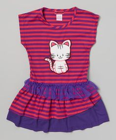 This playful dress puts a smile on any cat-loving kiddo's face! An adorable graphic and soft fabric mean this frock is as comfy as it is cute.
