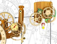 Wooden Clocks: Remontoire for Woodenclocks Wooden Clock Plans, Wooden Gear Clock, Wooden Gears, Wooden Wheel, Wood Clocks, Woodworking Tools For Sale, Woodworking Furniture Plans, Grandfather Clock Repair, Router Projects