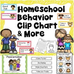 HOMESCHOOL BEHAVIOR CHART! Behavior clip charts are an awesome visual for daily behavior management. Hang them vertically with decorative ribbon and write your kids names on a close pin from sponsor @educents