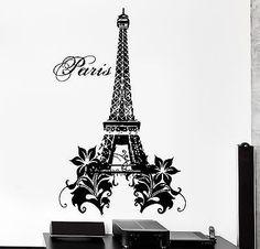 Wall Decal Paris France Eiffel Tower Flower Love Vinyl Decal (z3136)
