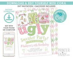 Ugly Sweater Christmas Birthday Invitation, EDITABLE, Christmas Party, Ugly Sweater Party Invitation, DIGITAL, Instant Download Ugly Sweater Party, Ugly Christmas Sweater, 8th Birthday, Christmas Birthday, Digital Invitations, Birthday Invitations, Multiplication Strategies, Being Ugly, Sweaters