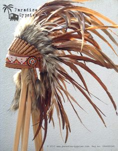 NEW Full Natural Brown Feather Headdress on Etsy by Paradise Gypsies