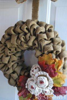 Bubble Burlap Wreath - can use this method for other stiff fabrics too