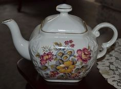 Vintage Ellgreave England Ironstone Tea Pot With Lid, Gold and Pink Floral