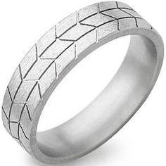 Stone Finish Titanium Tread Ring