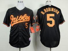 ba5c58d818d Orioles  5 Brooks Robinson Black Cool Base Stitched MLB Jersey Orange  Number