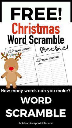 Have your students use this printable free worksheet to spell and record as many words as they can using the letters in the words Merry Christmas or Happy Holidays