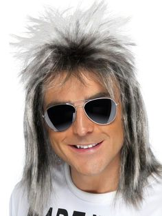 Totally costumes  Kicking it like an 80s celebrity rock god in our adult Bon Jovi Ash Blonde Wig. It will give you the long, full and wild hairstyle of the rock band's namesake and lead singer. Our men's Bon Jovi Wig features ash blonde synthetic hair in a shoulder-length shag with shorter, wispy layers on top and bangs. It will give you the rockin' hair of the 80s and have you ready to start your own hard rock or hair metal band. Our adult Ash Blonde Bon Jovi wig is an ideal accessory for…