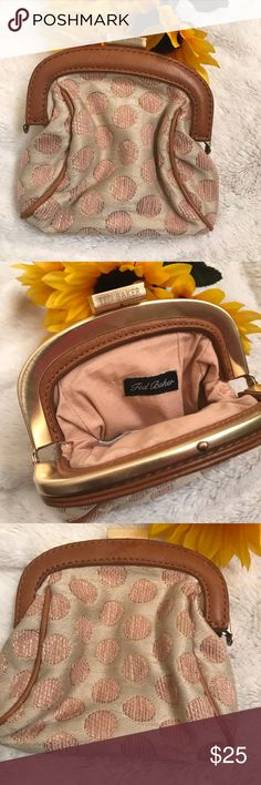 """TED BAKER COIN PURSE⚜️ Beautiful brown coin purse. Gold stitching. Leather accent. Measures 5"""" X5"""". Classic and vintage style. Ted Baker London Bags Wallets"""
