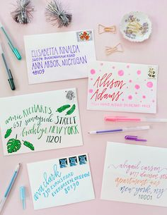 Paper Crafts Ideas DIY Colorful Envelope Address Ideas with Sakura of America Glaze and Soufflé Pens / Oh So Beautiful Paper Envelope Art, Envelope Design, Envelope Lettering, Envelope Writing, Fun Mail, You've Got Mail, Do It Yourself Quotes, Pen Pal Letters, Addressing Envelopes