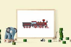 Steam locomotive digital poster locomotive clip art by DigiFrog