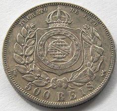 Brazil, Silver Coin, 500 reis 1888, Top High Grade, Very Scarce 333.000 minted !