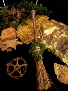 Pagan Wiccan Green Man Moss & Oak Besom & pentacle. Hand crafted by Positively Pagan Crafts.