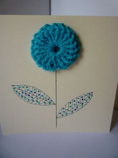 crochet flower card idea. make flowers out of the really thin yarn...don't remember what it's technically called. :)