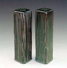 Ben Rigney Tall Rectangle Green Salt & Pepper Shakers