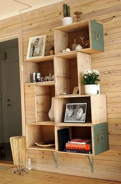 stacked crate shelves