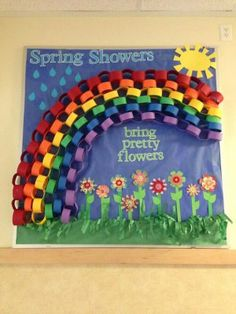 Spring Bulletin Board Ideas for Your Classroom: Easy, Fun, and Fun - Preschool-Kindergarten Rainbow Bulletin Boards, Spring Bulletin Boards, Preschool Bulletin Boards, Classroom Bulletin Boards, Classroom Door, April Bulletin Board Ideas, Preschool Parent Board, Bulletin Board Ideas For Teachers, Butterfly Bulletin Board