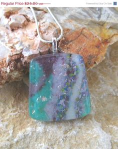 Fused Glass Pendant Stone Look Pendant Glass Slide by GlassCat
