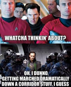 Khan (Benedict Cumberbatch) and Loki (Tom Hiddleston) . I had to pin this. Just because it's Loki and Khan. And my love for them goes deep. Benedict Cumberbatch, Khan Benedict, Destiel, Johnlock, Geeks, Tom Hiddleston, Avengers, Hilarious, Funny Memes