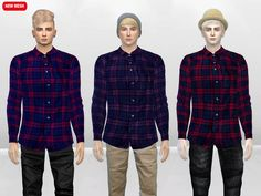 The Sims Resource: Roddy Gate Flannel Shirt by McLayneSims • Sims 4 Downloads