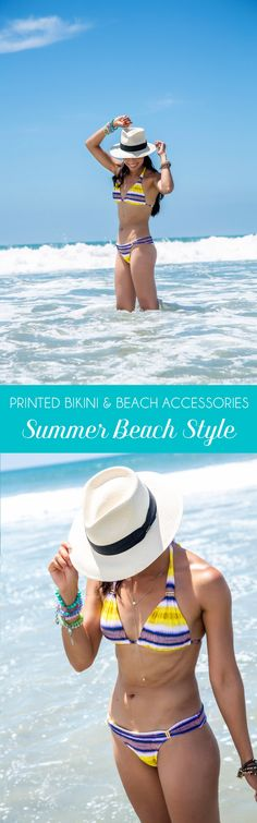 A Pretty Printed Summer Bikini & Beach Accessories - California Style