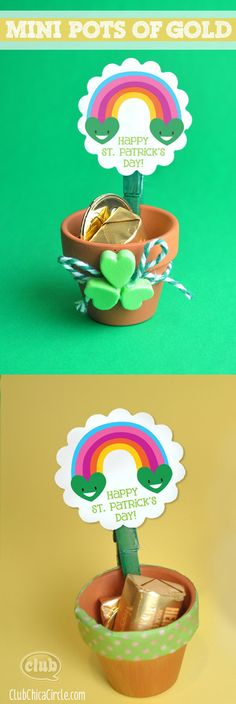 Mini Pots of Gold craft idea with Smiling Rainbow Free Printable @clubchicacircle