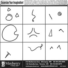 Mayberry Fine Art Bonus Doodle Page:  Create pictures from the shapes and squiggles.  Add some colour!