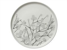 Marimekko Lumimarja White/Grey Plate This small plate makes a sweet statement and act as the perfect complement to winter weather. With Erja Hirvi's snowberry print stretching across the ceramic face of the Marimekko Lumimarja White/Grey . Grey Plates, Small Plates, Decorative Plates, Marimekko, China Patterns, Vintage Design, Something Beautiful, Crate And Barrel, Cool Kitchens