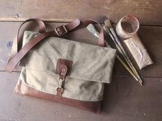 """Adventure Satchel"" - Waxed Canvas Envelope Messenger"