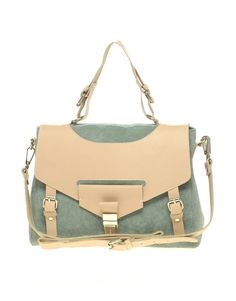 Leather And Suede Tucklock Satchel