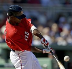Boston Red Sox's Pedro Ciriaco hits a one-run single in the third inning of an exhibition spring training baseball game against the Tampa Bay Rays, Monday, March 4, 2013, in Fort Myers, Fla. (AP Photo/David Goldman)