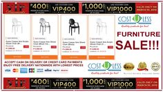LAZADA'S FURNITURE SALE VIP DISCOUNT!! P400.00 OFF Minimum Purchase of P3,000.00 - USE VOUCHER CODE: VIP400 P1,000.00 OFF Minimum Purchase of P7,000.00 - USE VOUCHER CODE: VIP1000 FREE DELIVERY!! CASH ON DELIVERY!! CREDIT CARD PAYMENTS ARE ALL ACCEPTED!!   http://www.lazada.com.ph/cost-u-less-total-furniture---interior-solutions/