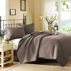 Hampton Hill Velvet Touch Taupe Quilted Coverlet Mini Set
