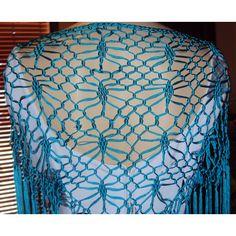 . mantonsillo Bordado Popular, Crochet, Food Cakes, Flamenco Dresses, Crochet Shawl, Trellis, Crocheting, Chrochet, Knitting