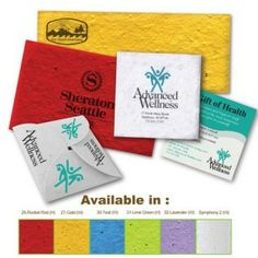 Handcrafted personal touch with Symphony handmade seed papers.  Social conscious messaging.